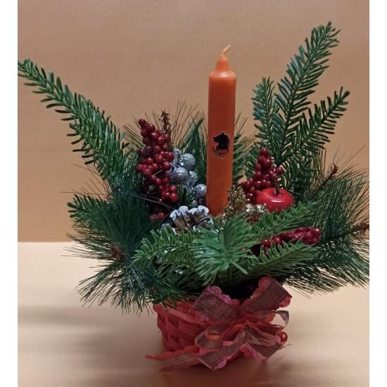 Christmas arrangement with lighting.