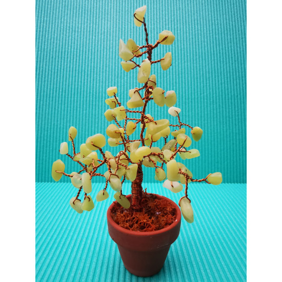 Bonzai tree with yellow peridot chips, 90 stones, enameled copper wire, 4 cm terracotta pots.