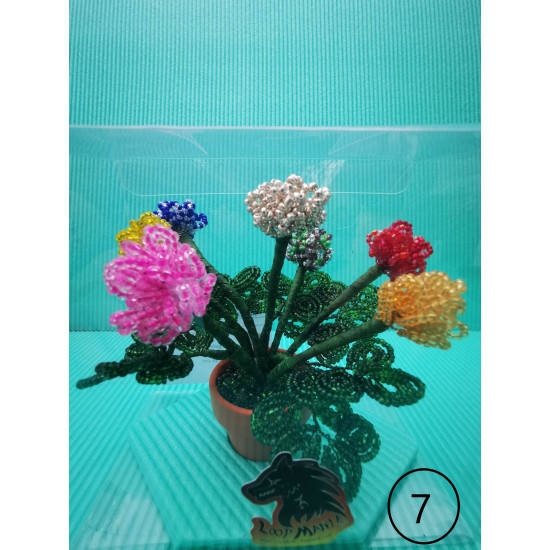 Flowers. Carnations made of modeling wire and sand beads.