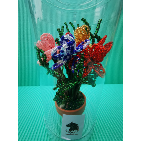 Potted flowers. Made of 0.4mm modeling wire and 0.2mm sand beads. 5 cm pot or porcelain bowl. 14 cm potted height.