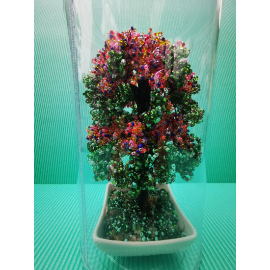 Trees (willow, apple, etc.) made of sand beads and silicone wire, different colors. Height 18-20 cm.