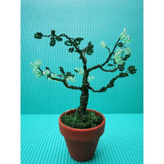Decorative tree. Bonzai tree with blue, green sand beads, 90 stones.