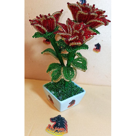 Flowers from sand beads of different colors. Made of precious sand beads with 0.6mm green wire and green flower adhesive tape. Bouquet height 18-20 cm.