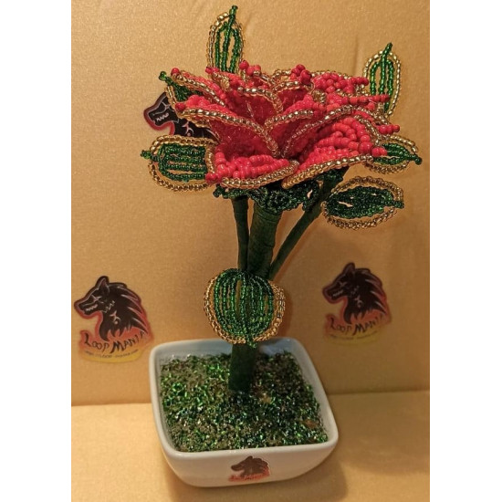 Flowers from sand beads of different colors. Made of precious sand beads with 0.35mm green wire and green flower adhesive tape. Bouquet height 16-18 cm.