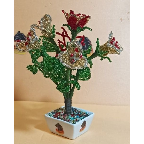Bouquet of bells of sand beads of different colors. Made of precious sand beads with 0.35mm green wire and green flower adhesive tape. Bouquet height 16-18 cm.
