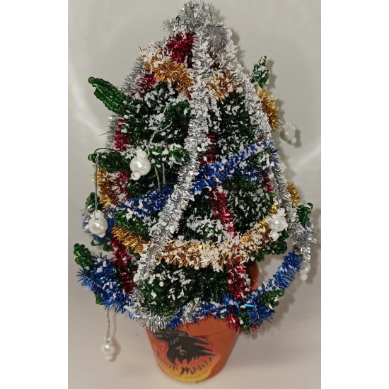 Christmas tree made of sand beads and modeling wire, height 16-18 cm.