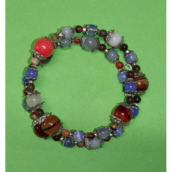 Gemstones. Agate ball bracelet and Tibetan silver caps.