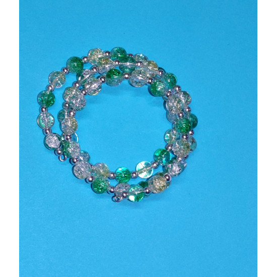 Yellow-white and green-white crackle glass bead bracelet, silver beads.