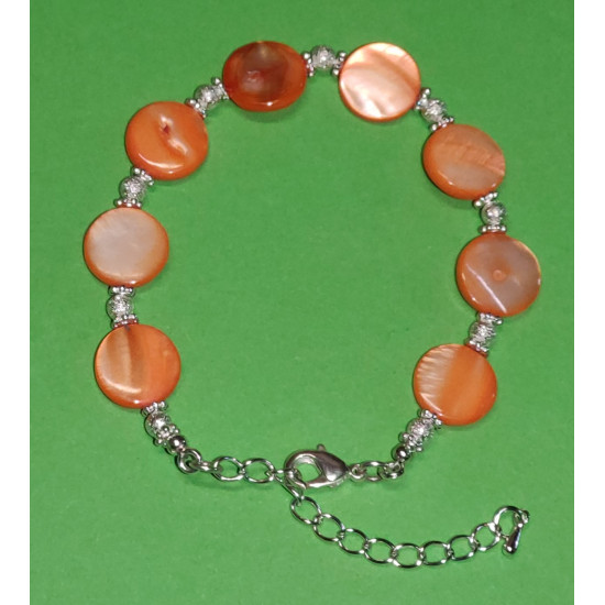 Bracelet 18cm + 5cm extension chain plated with silver, mother-of-pearl stones.