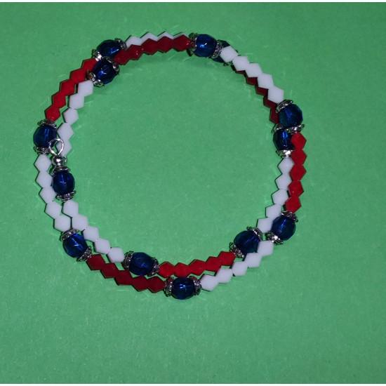 Biconical crystal bracelet made of matt red glass, matt white, blue glass.