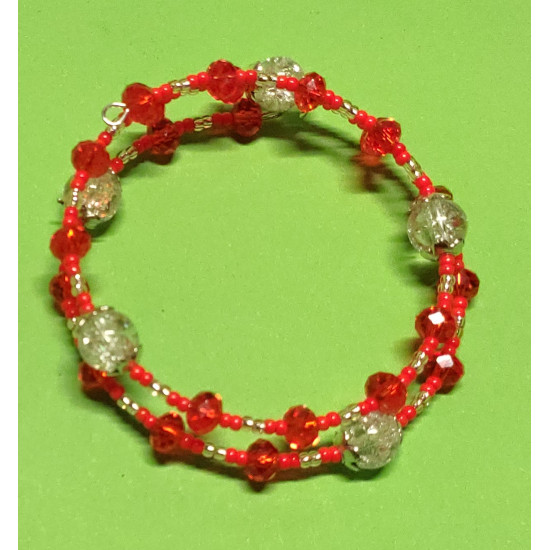 Faceted glass crystal bracelet, white-white crackle glass beads faceted orange acrylic beads.