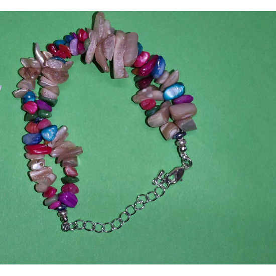 Bracelet 17cm + 5cm silver-plated extension chain, made of silicone wire, silver-plated metal chain, mother-of-pearl stones mixed colored chips,