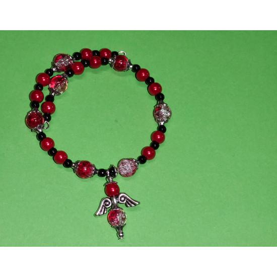 Toho bead bracelet, red, black glass beads, red-white crackle glass beads