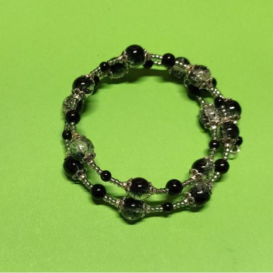 Black acrylic pearl bracelet, black-white crackle glass beads silver  beads