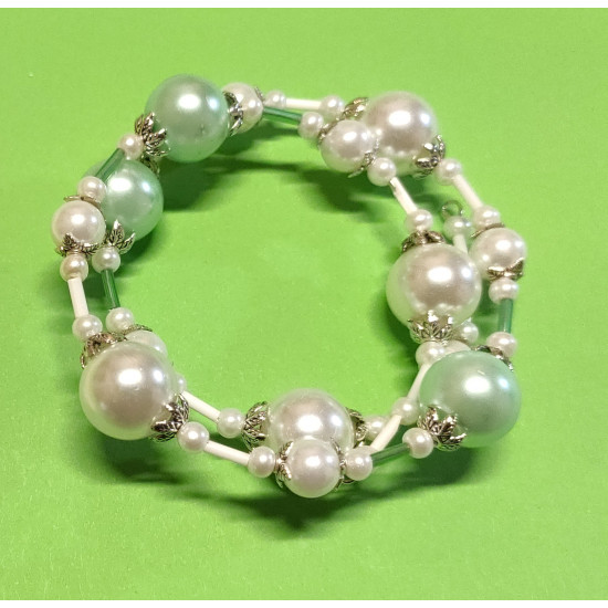 White and pale green glass bead bracelet, Tibetan silver caps.