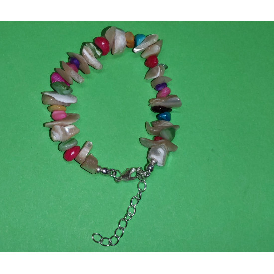 Bracelet 17cm + 5cm silver-plated extension chain, made of silicone wire, silver-plated metal chain, mother-of-pearl stones mixed colored chips