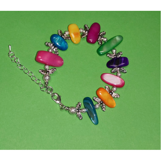 Bracelet 18cm + 5cm silver-plated extension chain with silver, made of silicone wire, silver-plated metal chain, colored mixed mother-of-pearl stones
