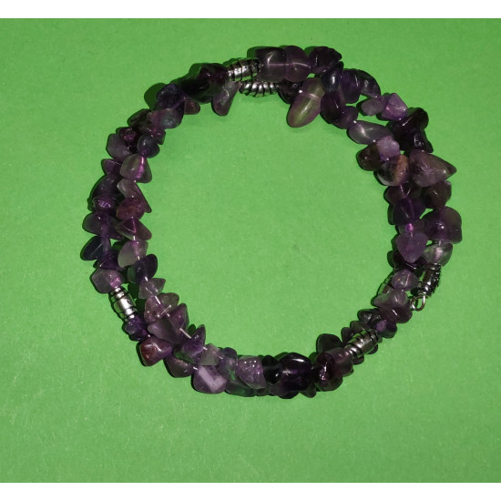 Bracelet about 40 cm, 2 turns of amethyst chips