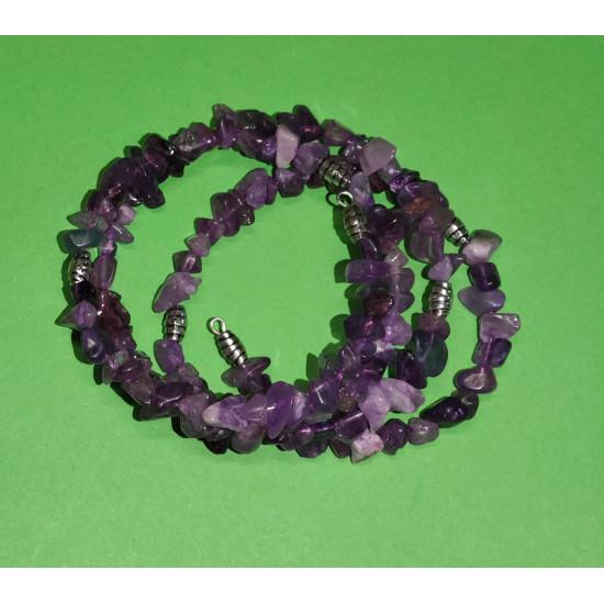 Amethyst chip bracelet, Tibetan silver spacer. The bracelet is handmade on memory wire, 3 turns.