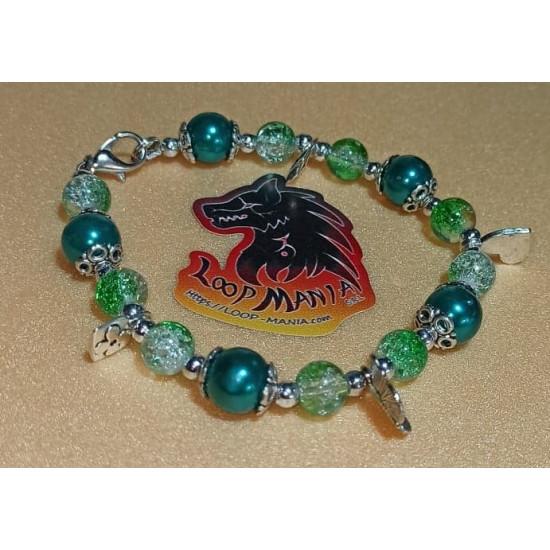 Bracelet about 20-22 cm made of light blue glass beads