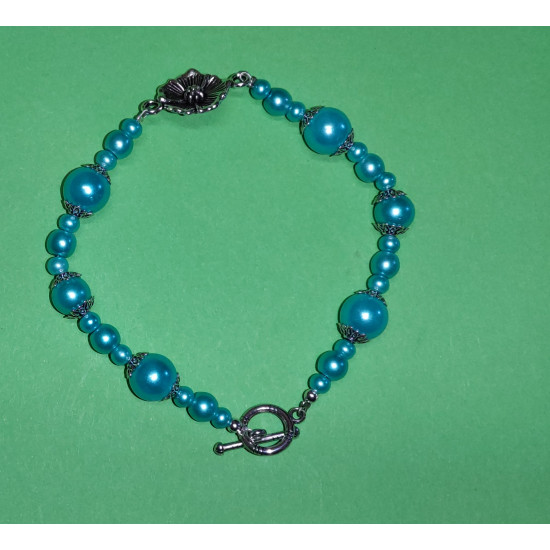 Bracelet about 20-22 cm made of light blue glass beads
