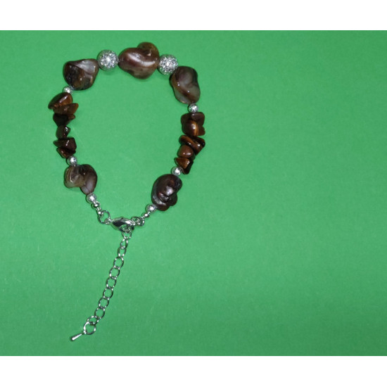 Bracelet 18cm + 5cm silver-plated extension chain, made of silicone wire, silver-plated metal chain, irregular nugets mother-of-pearl stones