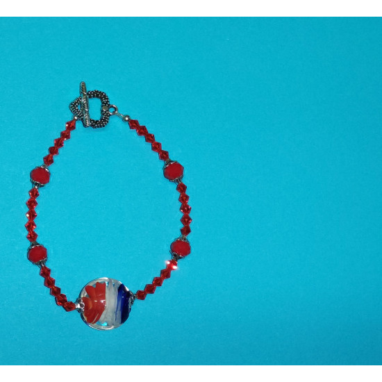 Bracelet about 22 cm of lampwork glass beads (round), matt red faceted glass crystals