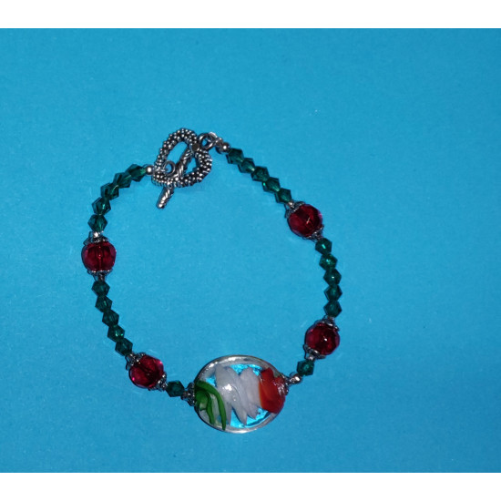 Bracelet about 21 cm from lampwork glass beads (oval), matt red faceted glass crystals
