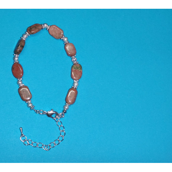 Bracelet 17cm + 5cm silver-plated extension chain, made of silicone wire, silver-plated metal chain, uneven unakit stones