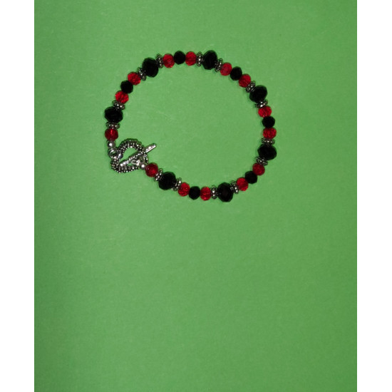 Bracelet about 20 cm of faceted glass crystals black and transparent red