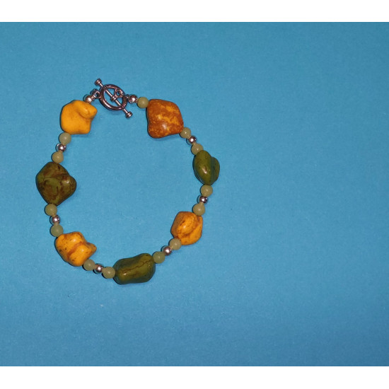Bracelet about 21 cm Howlit tube beads, Howlite stones, synthetic (yellow and green) non-uniform and silver balls