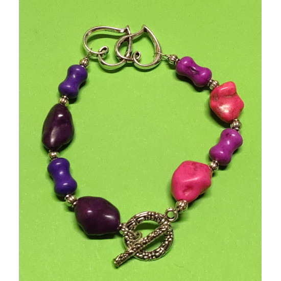 Bracelet about 22.5 cm Howlit hourglass beads, howlite bulbs, synthetic (pink + purple)