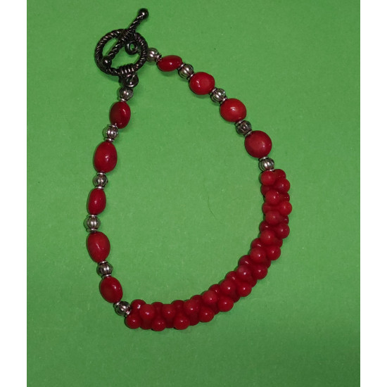Bracelet about 20 cm. Red coral beads, hourglass, Bulgarian coral and Tibetan spacer