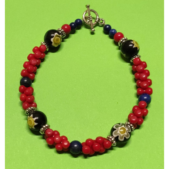 Gemstones. Bracelet about 21 cm, red and blue coral.