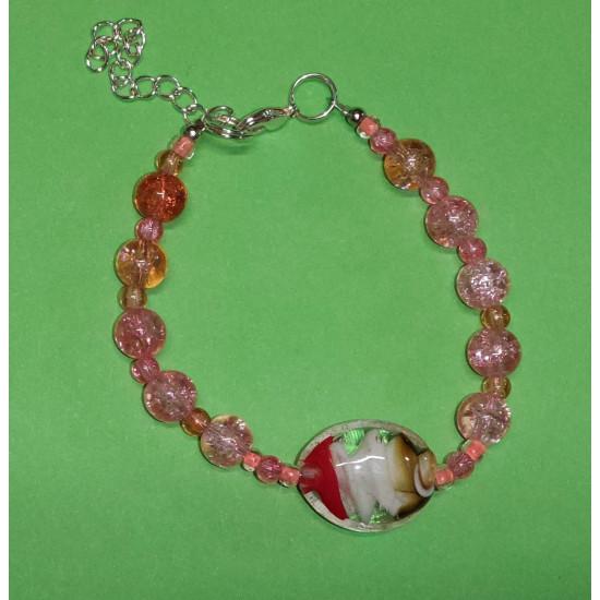 Bracelet about 19 cm orange to pink glass beads.