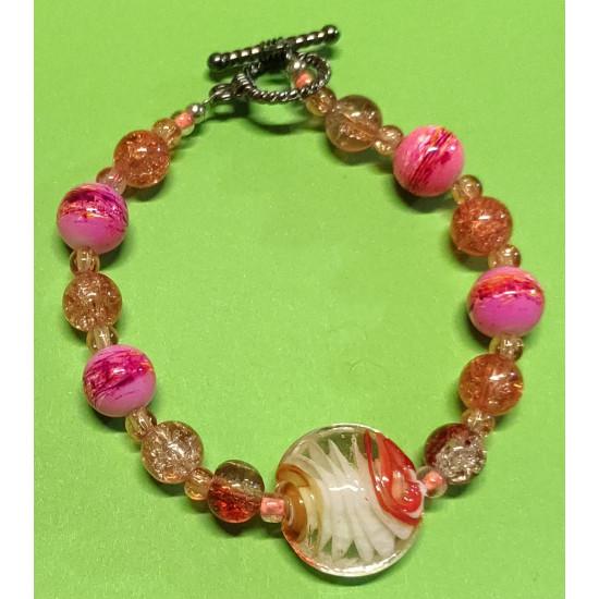 Bracelet about 21 cm orange to pink glass beads