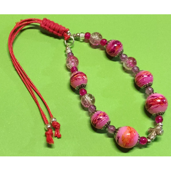 Bracelet about 21 cm pink glass beads. Pink crackle glass beads &  Glossy & purple