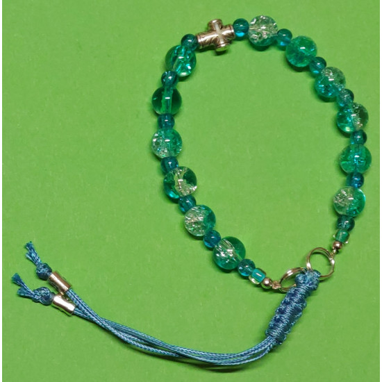 Blue glass beads. Crackle glass beads,