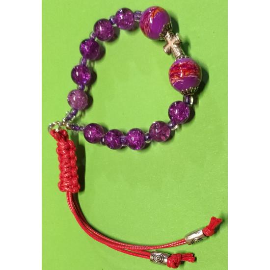 Bracelet about 21 cm purple glass beads. Purple crackle glass beads, & Glossy & purple,