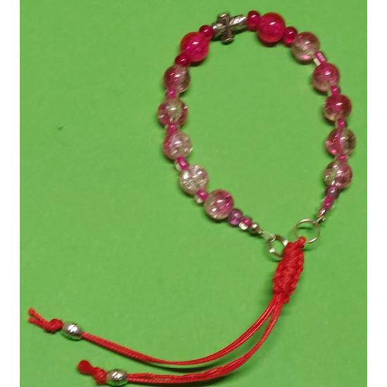 Bracelet about 19-21 cm Pink glass beads.
