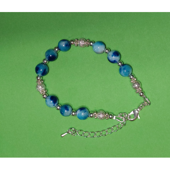 Bracelet about 17 cm + 5 cm extension chain, with Ocean jade, spherical, blue & green, Malaysia Jade, blue & blue