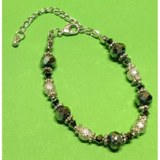 Bracelet about 16 cm + 5 cm extension chain, with faceted glass beads, abacus, rainbow