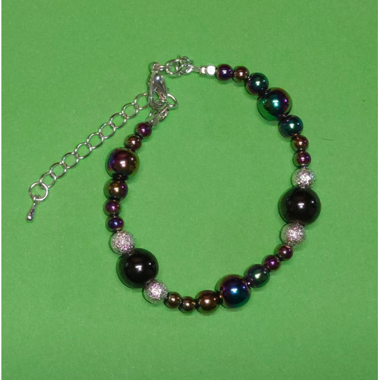 Bracelet approx. 18 cm + 5 cm extension chain, with spherical hematite, rainbow, magnetic hematite