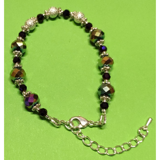 Bracelet approx. 17 cm + 5 cm extending chain, with faceted glass beads, abacus, rainbow