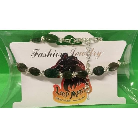 Bracelet about 19 cm + 5 cm extension chain, with green jade, non-uniform semi-precious
