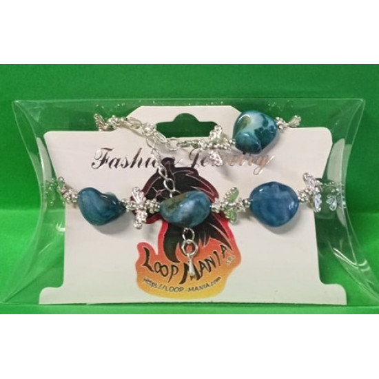 Bracelet about 15 cm + 5 cm extension chain, with non-uniform mother-of-pearl stones