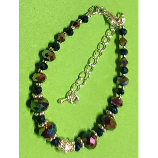 Bracelet approx. 17 cm + 5 cm extension chain, with faceted glass beads, abacus, rainbow