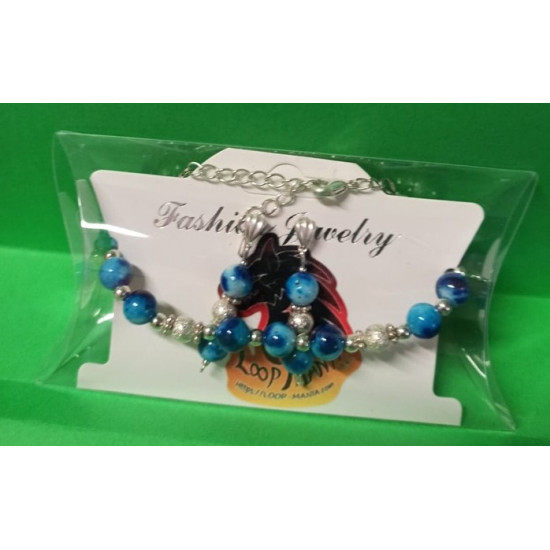 Bracelet approx. 18 cm + 5 cm extension chain, with Malaysia Jade, blue & blue
