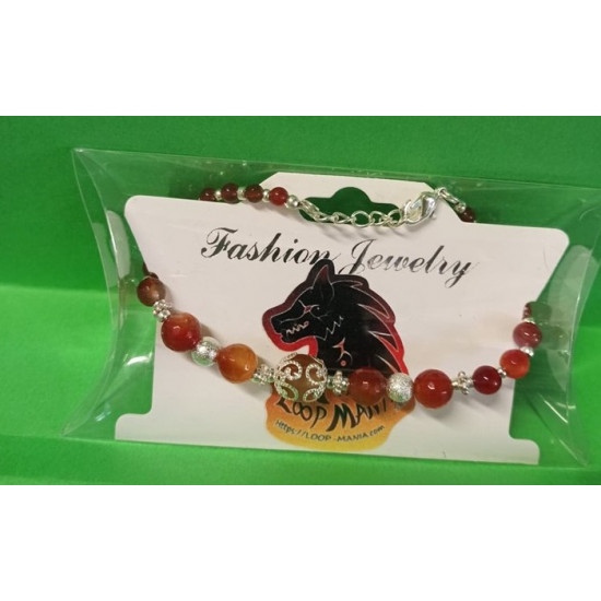 Bracelet approx. 19 cm + 5 cm silver-plated extension chain, with agate beads