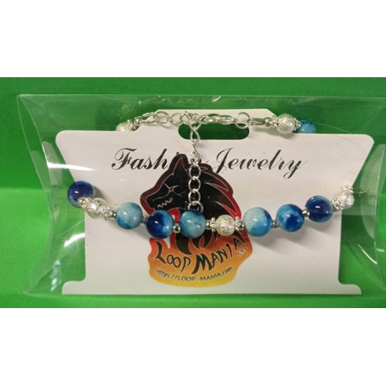 Bracelet about 18 cm + 5 cm extension chain, with Malaysia Jade, blue & green
